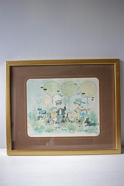 北欧ヴィンテージ/Bjorn Wiinblad(ヴョルン・ウィンブラッド)/額絵(イラスト)/春