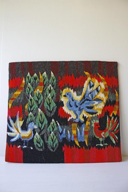 北欧織物/フレミッシュ織/つづれ織り/森の中の3羽の鳥