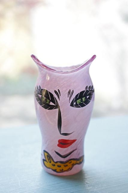 北欧ヴィンテージ/KOSTA BODA/ウルリカ/ペイントガラスの花瓶