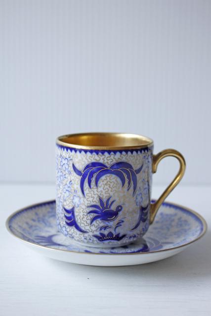 北欧ヴィンテージ/ARABIA/デミカップ&ソーサー/SHE-FO/ブルーの小鳥とお花