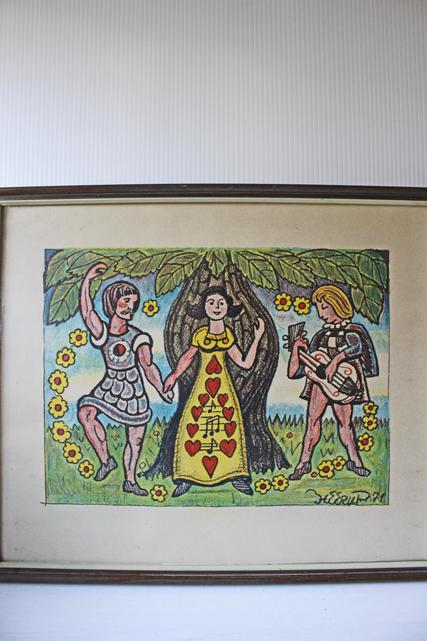北欧ヴィンテージ/Henry Heerup/額絵/マンドリンを弾く男性とカップル