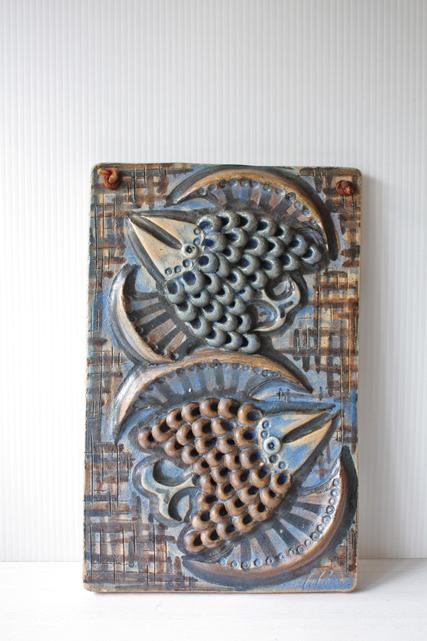 北欧ヴィンテージ/Alingsas Keramik/陶板の壁掛け/2羽の鳥