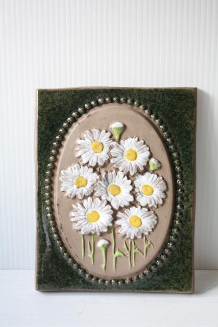 北欧ヴィンテージ/jie gantofta社/陶板の壁掛け/白いお花/SOLD OUT