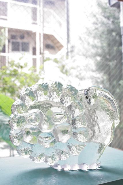 大サイズ!北欧ヴィンテージ/スクルフ/ガラスのオブジェ/ライオン