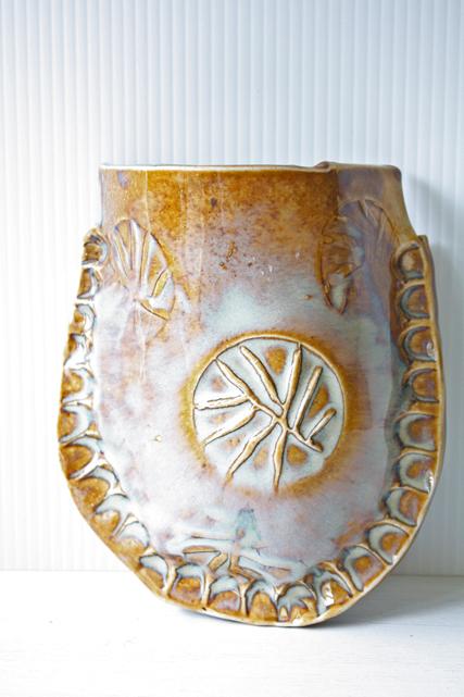 北欧ヴィンテージ/デンマーク/壁掛け花瓶/ブラウン×ミルク/SOLD OUT