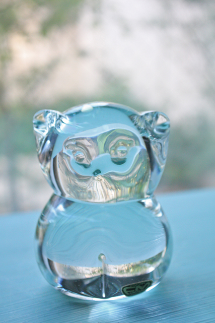 北欧ヴィンテージ/スウェーデン製/ガラスのオブジェ/みみずく