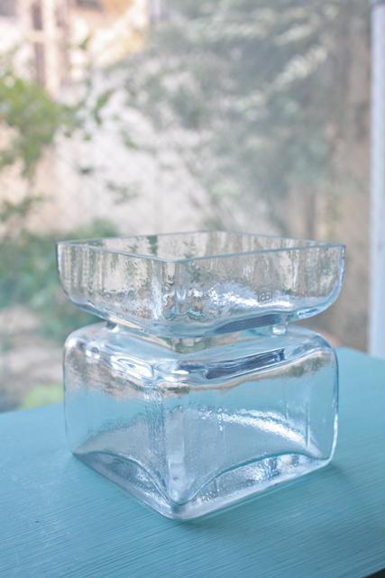 北欧ヴィンテージ/Riihimaen Lasi/Pala/花瓶/クリアカラー/Finn crystal
