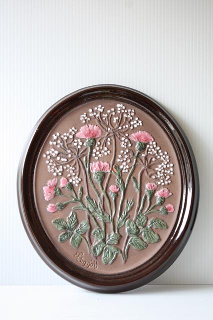 北欧ヴィンテージ/GABRIEL社/陶板の壁掛け/ピンクのアザミ/SOLD OUT