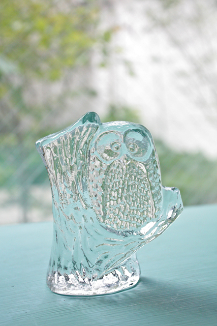 北欧ヴィンテージ/スウェーデン製/ガラスのオブジェ/フクロウ
