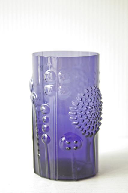 北欧ヴィンテージ/Nuutajarvi Flora/フローラ/グラス/パープルブルー