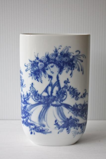 北欧ヴィンテージ/Bjorn Wiinblad(ヴョルン・ウィンブラッド)/オーバル型花瓶/女性