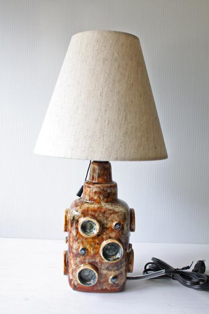 北欧照明/ヴィンテージテーブルランプ/ブラウン×水玉