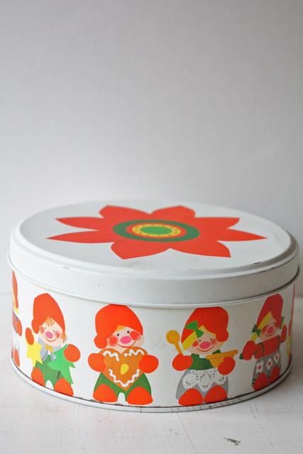 【クリスマス】ヴィンテージ缶/可愛いニッセ/クッキー缶