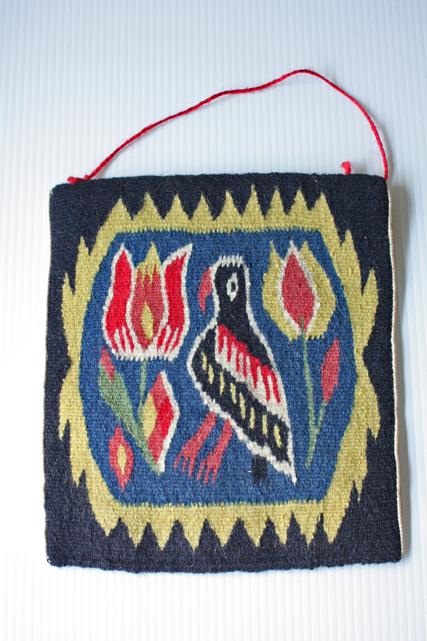 北欧織物/フレミッシュ織/つづれ織り/かごの鳥