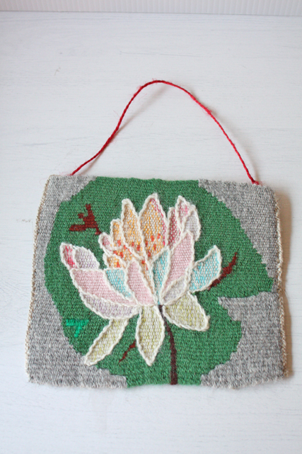 北欧織物/フレミッシュ織/つづれ織り/蓮の花