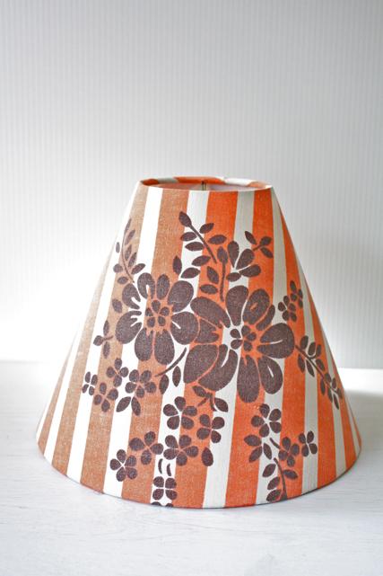北欧照明/ランプシェード/オレンジストライプ×ブラウンフラワー