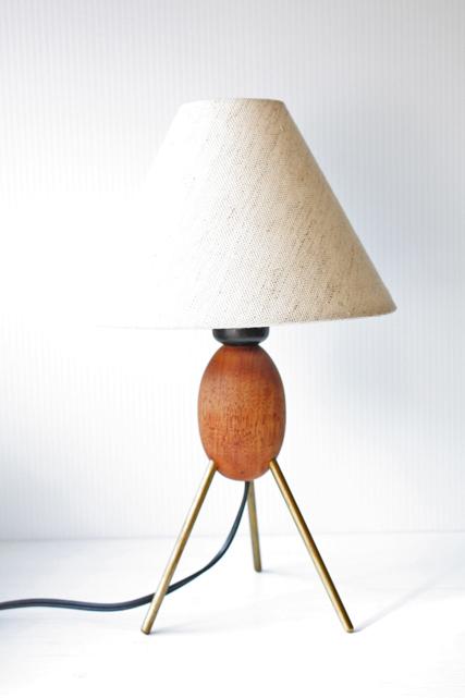 北欧ヴィンテージ/テーブルランプ/チーク素材×真鍮脚/SOLD OUT