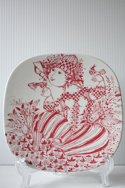 北欧ヴィンテージ/Bjorn Wiinblad(ヴョルン・ウィンブラッド)/飾り皿/小鳥と戯れる女性