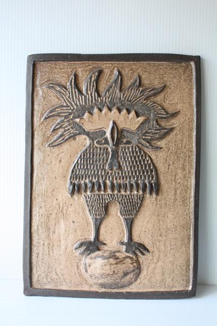 北欧ヴィンテージ/デンマーク製/陶板の壁掛け/たまごに乗る鳥/SOLD OUT