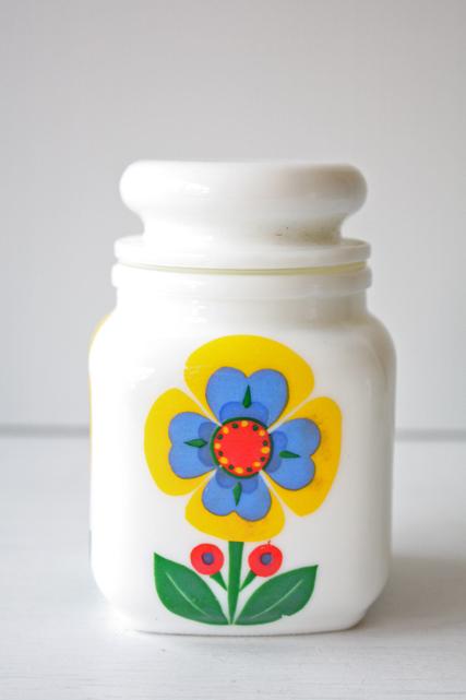 ベルギー製/ヴィンテージスパイスポット/ミルクガラス&パンジー/SOLD OUT
