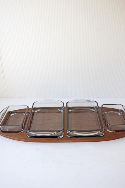 北欧ヴィンテージ/デンマーク製/木製トレイ&ガラス容器