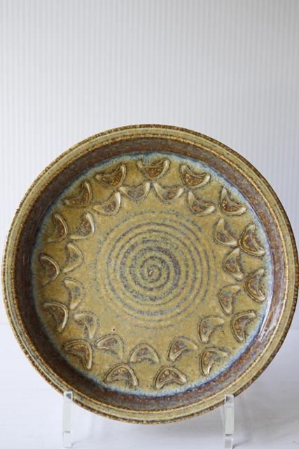 北欧ヴィンテージ/Soholm/丸皿/サンドベージュ×ペールブルー