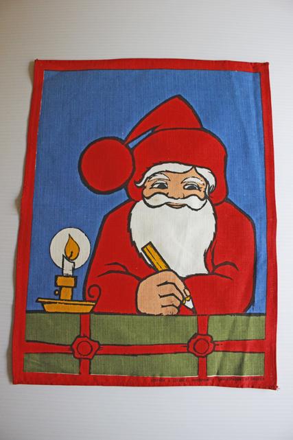 【クリスマス】北欧ヴィンテージ/クロス/お手紙を書くサンタさん