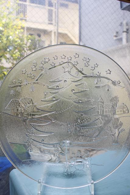 北欧ヴィンテージ/ガラス大皿/クリスマスの様子