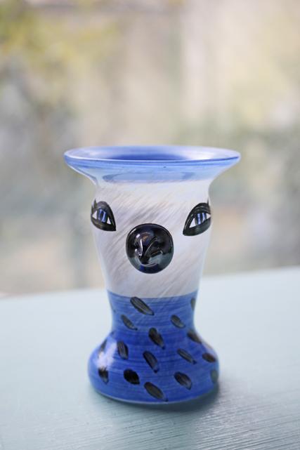 北欧ヴィンテージ/KOSTA BODA/ウルリカ/ペイントガラスの花瓶/水玉のトリ