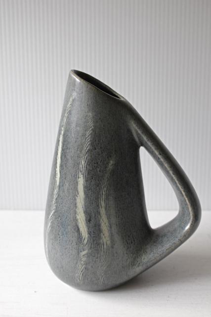 ドイツヴィンテージ/持ち手付き花瓶/ペールブルー&ライトグレー/SOLD OUT