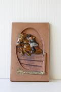 北欧ヴィンテージ/jie gantofta社/陶板の壁掛け/乗馬の女の子