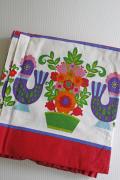 イースター!北欧ヴィンテージクロス/ニワトリとカラフルなお花