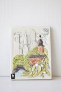 北欧ヴィンテージ/jie gantofta社/陶板の壁掛け/寄生木とスウェーデンの街