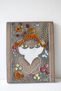 北欧ヴィンテージ/Upsala Ekeby/LINDA/陶板の壁掛け/赤い髪の女の子
