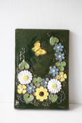 北欧ヴィンテージ/jie gantofta社/陶板の壁掛け/お花畑と蝶々