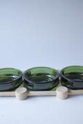 北欧ヴィンテージ/Nissen/木製トレイとグリーンのガラスボウル3個セット