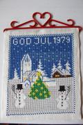 【クリスマス】北欧ヴィンテージ/刺繍の壁掛け/スノーマンとツリー/1979年
