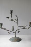 北欧ヴィンテージ/燭台/小花咲く枝にとまる鳥