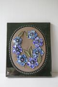北欧ヴィンテージ/jie gantofta社/陶板の壁掛け/ブルーのお花