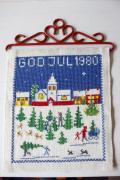 【クリスマス】北欧ヴィンテージ/刺繍の壁掛け/ツリーを選ぶ人々/1980年