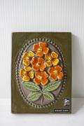 北欧ヴィンテージ/jie gantofta社/陶板の壁掛け/オレンジのお花