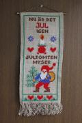 【クリスマス】北欧ヴィンテージ/刺繍の壁掛け/ニッセとクリスマスモチーフ