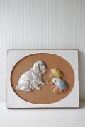 北欧ヴィンテージ/jie gantofta社/陶板の壁掛け/赤ちゃんと大きなわんちゃん/SOLD OUT