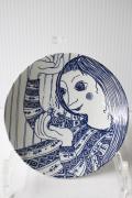 北欧ヴィンテージ/Bjorn Wiinblad(ヴョルン・ウィンブラッド)//飾り皿/女の子と小鳥
