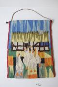 北欧織物/フレミッシュ織/つづれ織り/田舎のお家とガチョウさん