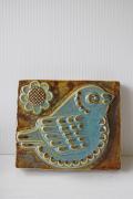 北欧ヴィンテージ/EGO社/陶板の壁掛け/小鳥とお花