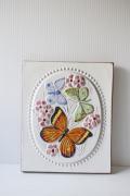 北欧ヴィンテージ/jie gantofta社/陶板の壁掛け/蝶々モチーフ