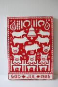 【クリスマス】北欧ヴィンテージ/刺繍の壁掛け/ブタさんがいっぱい/1985年