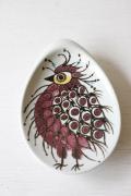 北欧ヴィンテージ/Royal Copenhagen/テネラ/鳥の小皿/パープル