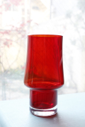 北欧ヴィンテージ/花瓶/クリアレッド